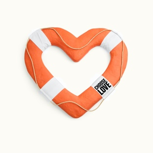 Search & rescue depicted by a heart shaped life raft